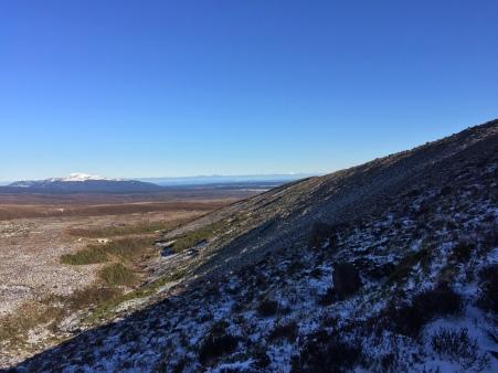 That teeny-tiny white dot just right-of-center on the horizon is Mt. Taranaki