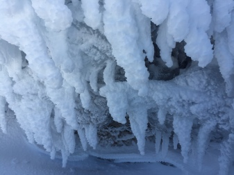 I'm stopping to look at these icicles because they're awesome, definitely not because I really need a break!