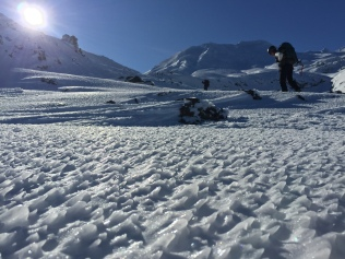 The ground was so pretty, probably a little scrapey to ski on, but actually quite good for using crampons