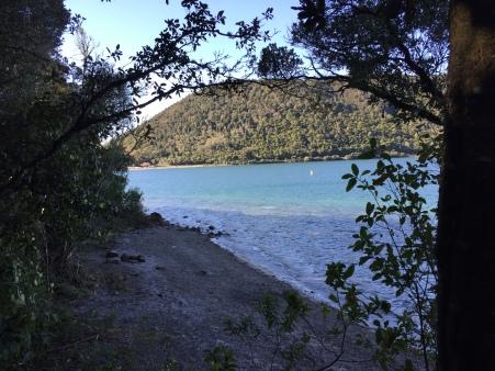 Blue Lake through the trees