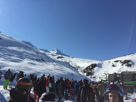 It was a beautiful cloudless day, so everyone went skiing