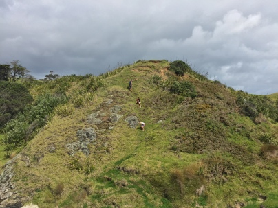 Touristy people climbing a hill like goats