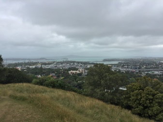 On top of Mt. Eden, Auckland's highest volcano!