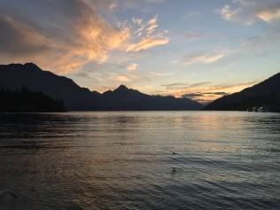 Lake Wakatipu at dusk.