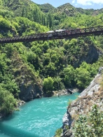 Bungy jumping at over the Kawarau River. Crazy, crazy people.