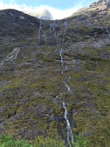 Some snowmelt waterfalls coming down the cliffs.