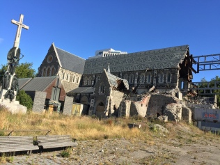 The old Christchurch Cathedral, largely destroyed by the 2011 earthquake.