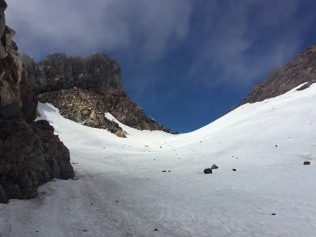 The snowy crater.
