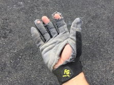 My gloves were good-as-new two days ago! All the scree-grabbing-and-sliding will do that.