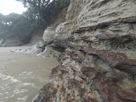 Cool to see how the more resistant layers stick out beyond the more easily eroded ones