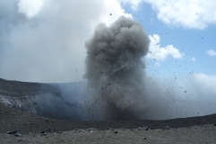 Ash cloud (and volcanic bombs) from the constant eruptions (nearly 1 per minute)