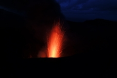 The eruptions were even more spectacular at night
