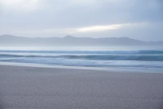 Breaking waves at dusk.