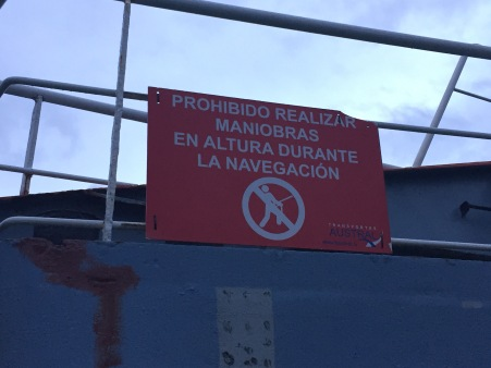 Funny warning sign from the first ferry.