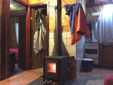 Our cozy lodging in Hornopirén, nice place to read on a torrentially rainy day.