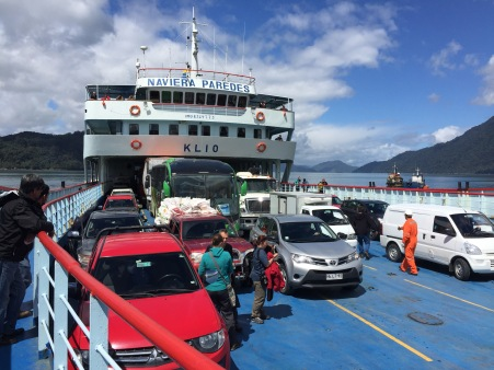 A big trip with lots of cars requires a BIG ferry!