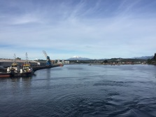Calbuco volcano behind the port in Puerto Montt.