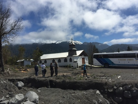 A church in Río Blanco that just narrowly escaped the lahar (with Calbuco in the background).