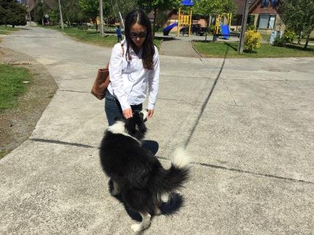 Sophia with our friendly neighborhood stray dog.