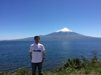 Me wearing my conference shirt, with Osorno on it, standing in front of Osorno