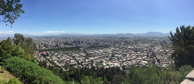 View of Santiago from the top of San Cristobal Hill.