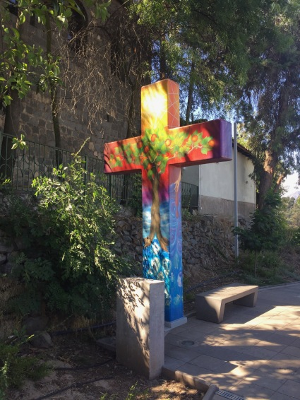 There were many of these colorfully-painted crosses.